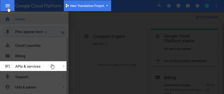 Generate Google API Key - TranslatePress