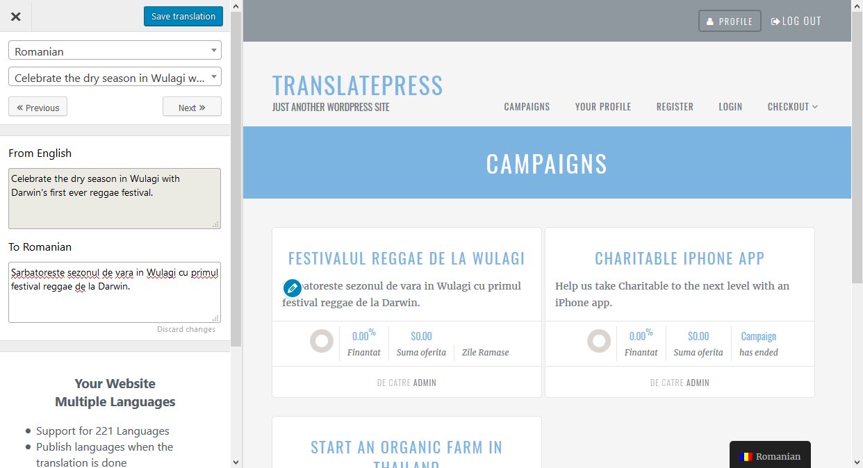 translate charitable plugin