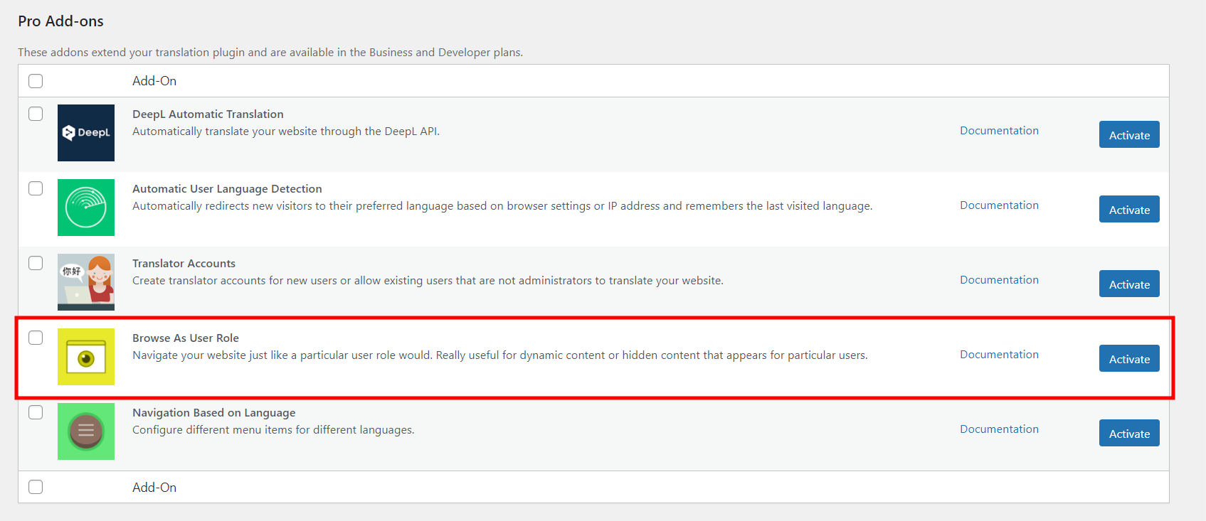 Browse as User Roles Add-on