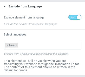 Exclude Elementor widget or section by language