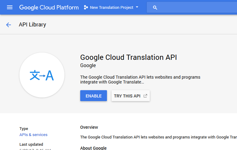 Generate Google API Key - TranslatePress