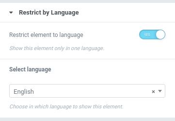 Elementor restrict by language using TranslatePress