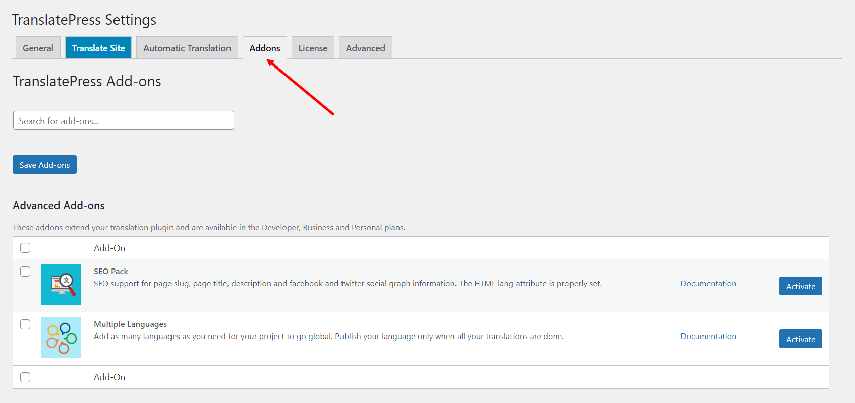 TranslatePress Settings Addons tab