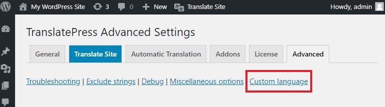 Add a Custom Language menu item