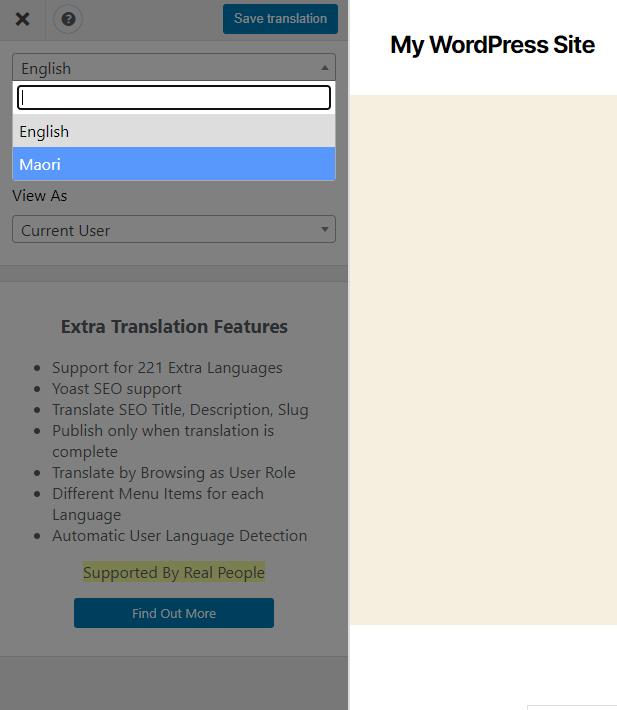 Front-end translation interface in TranslatePress