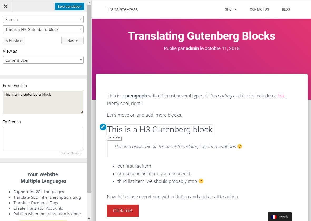 Translate Gutenberg Blocks in WordPress - TranslatePress