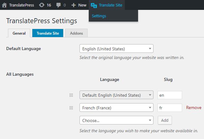 TranslatePress Settings Add Language