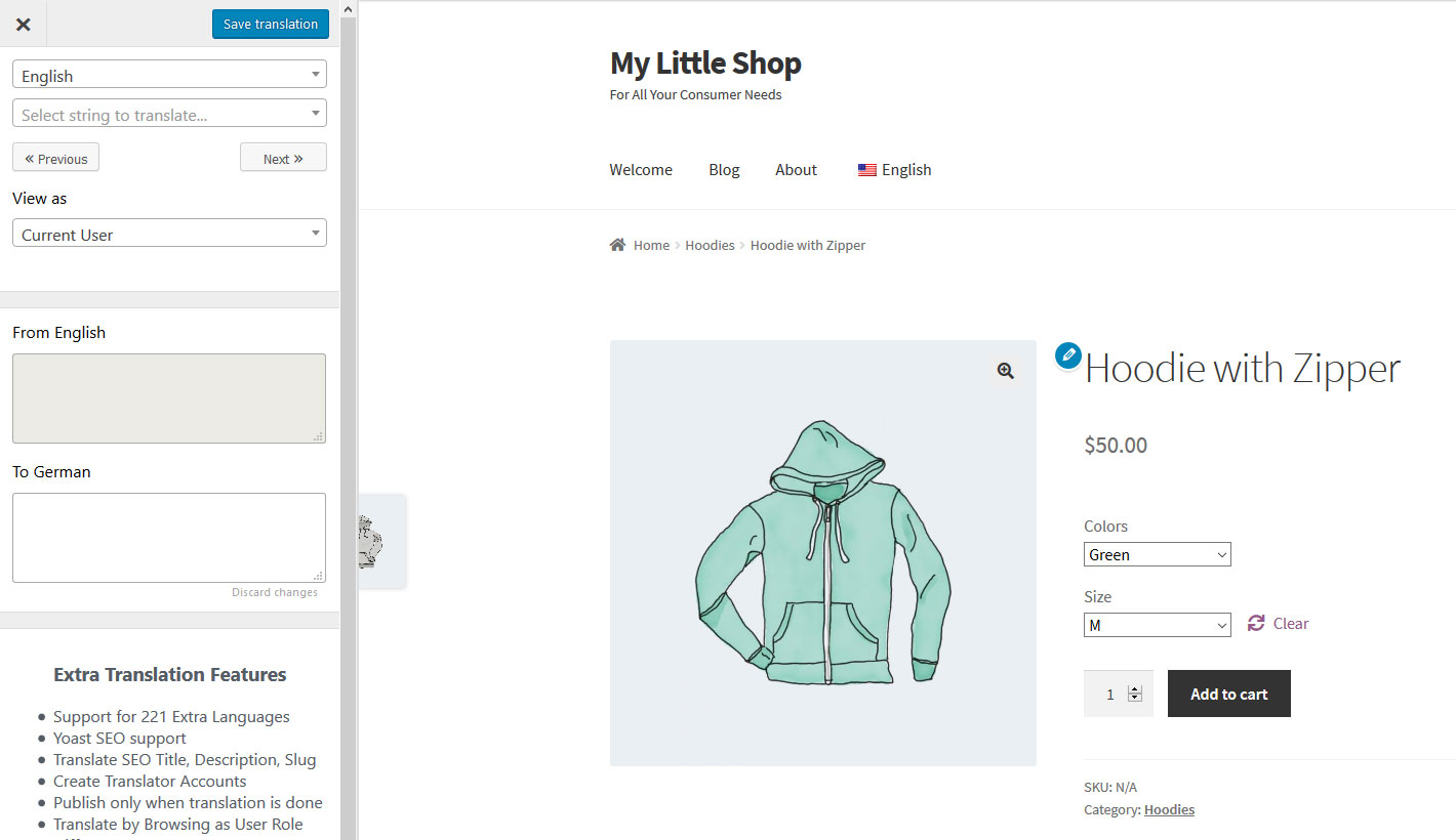 translate variable woocommerce product