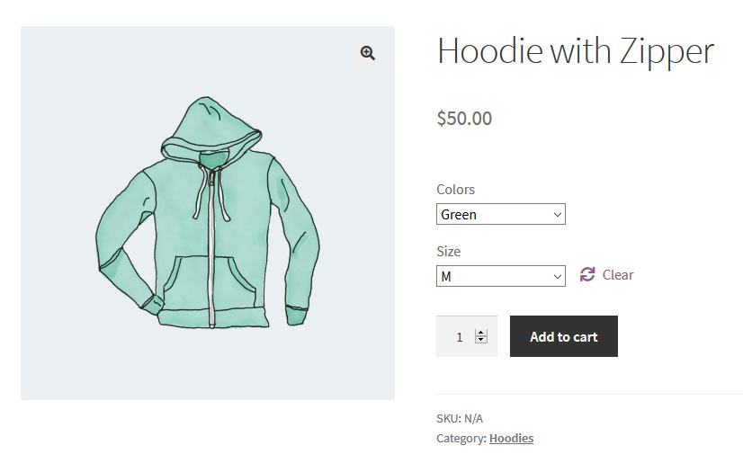 variable woocommerce product with drop down menus