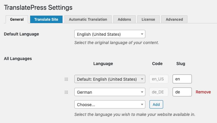 TranslatePress multilingual SEO settings