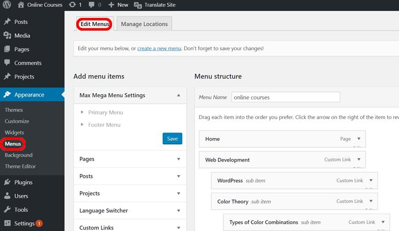 Translate-WordPress-menu-Edit-Menus