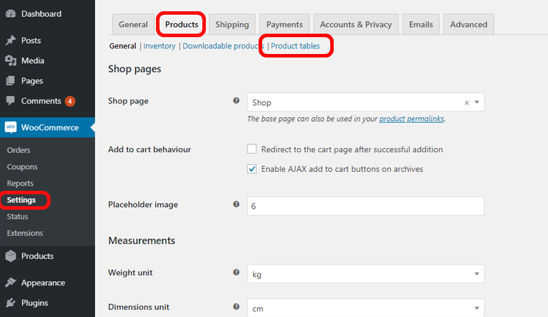 WooCommerce Settings Products