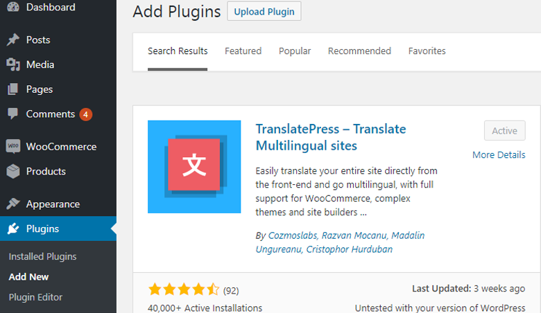 Installing TranslatePress - multilingual plugin