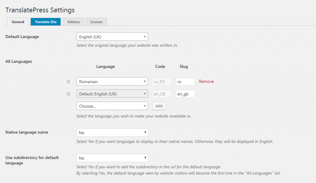 Settings for translating your site using TranslatePress
