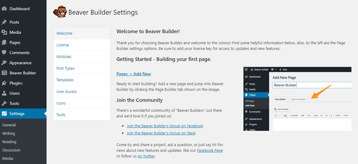 Beaver Builder plugin settings