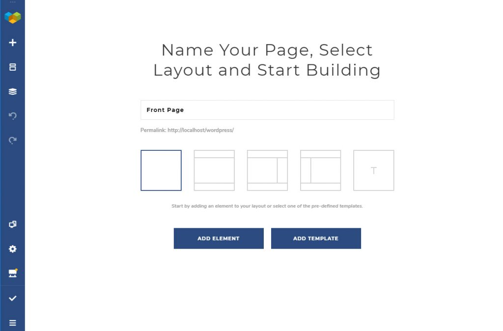 Select layout and template in Visual Composer