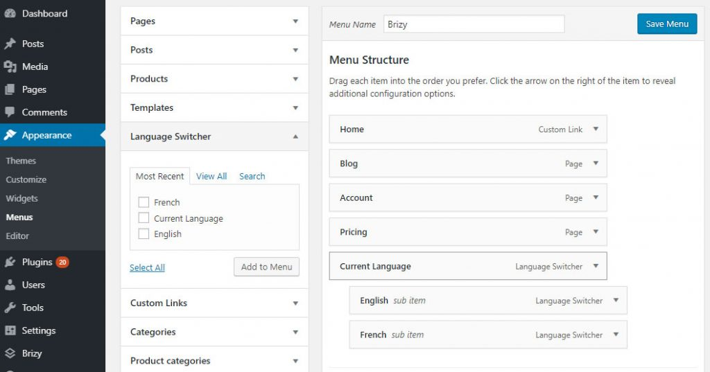 Add language switcher to menu for site created with Brizy Page Builder
