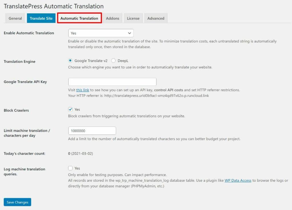 TranslatePress' automatic translation settings.