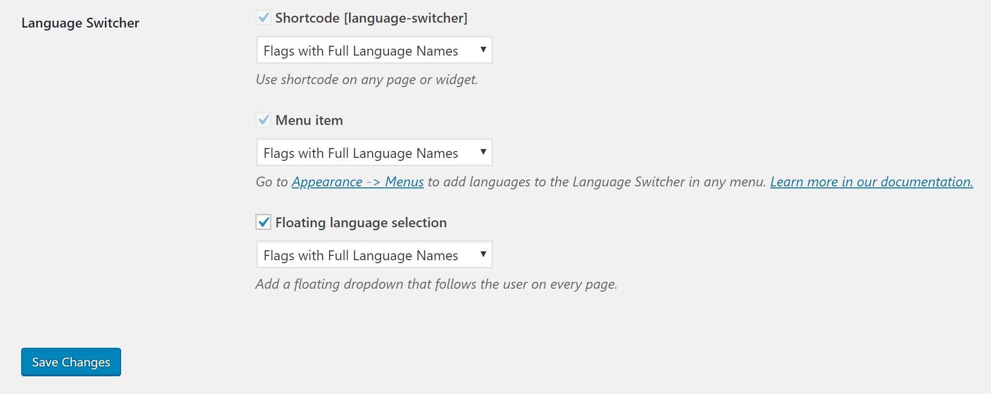 Configure language switcher