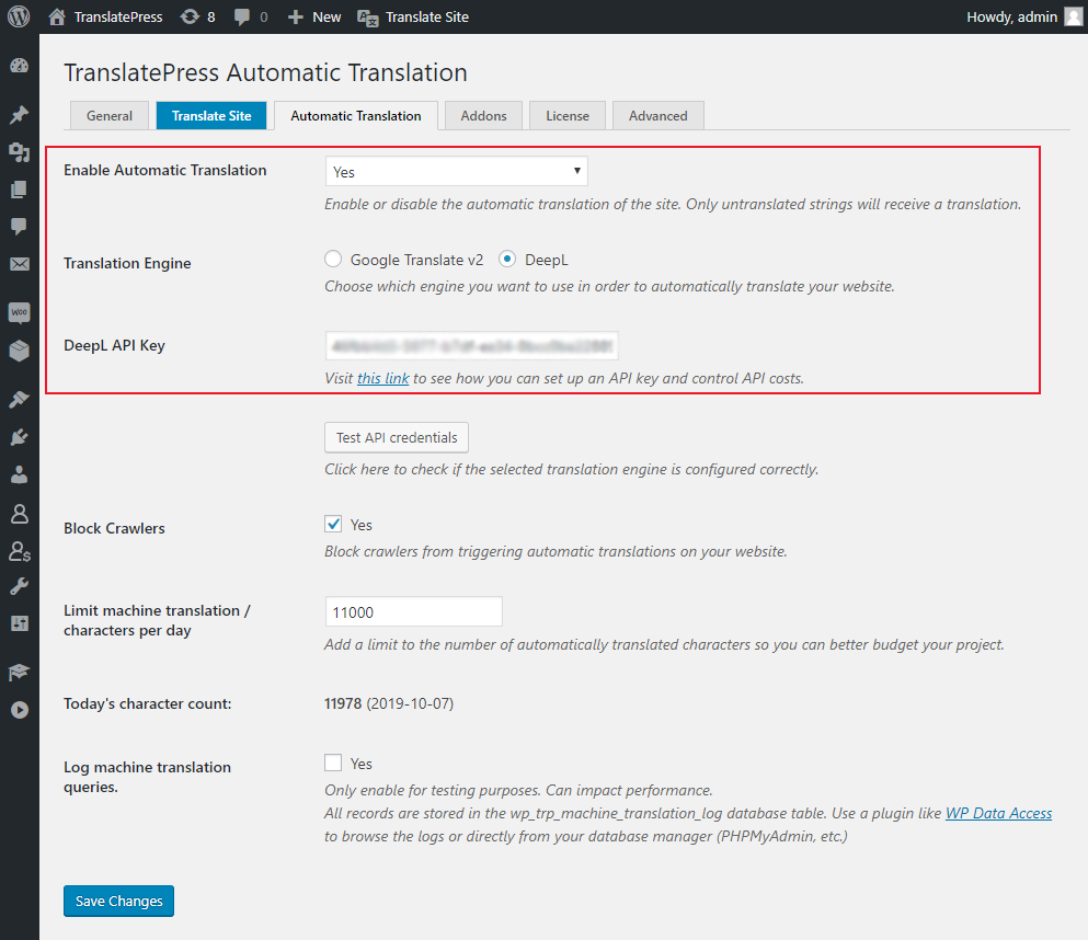 DeepL WordPress plugin settings