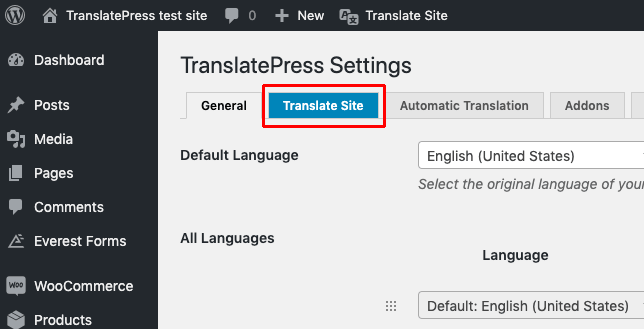 Translate site option in TranslatePress