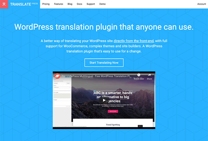 TranslatePress WordPress translation plugin homepage
