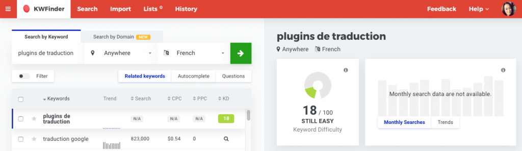 "KWFinder French search results for ""translation plugins'"