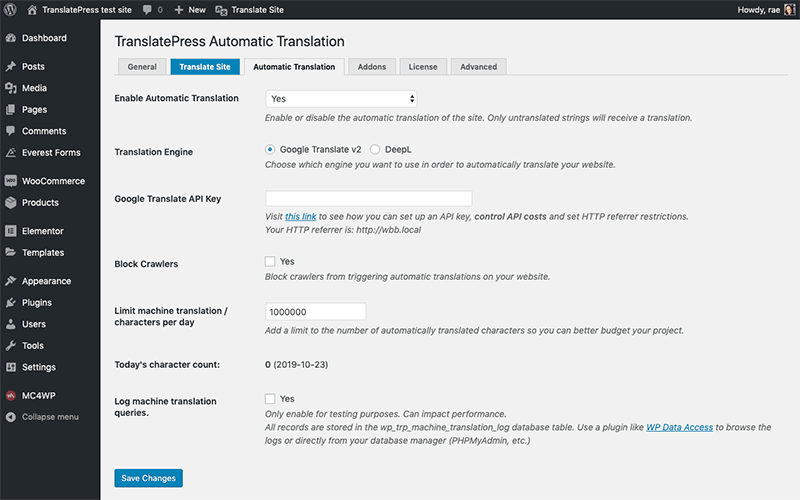 TranslatePress automatic translation settings
