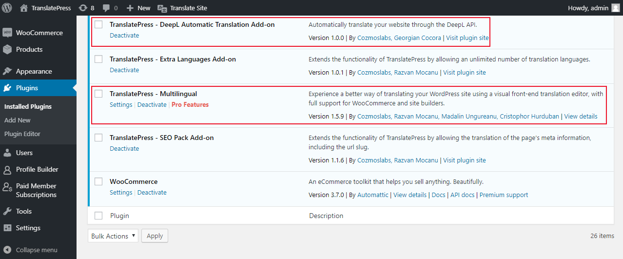 Installation for TranslatePress and DeepL integration add-on