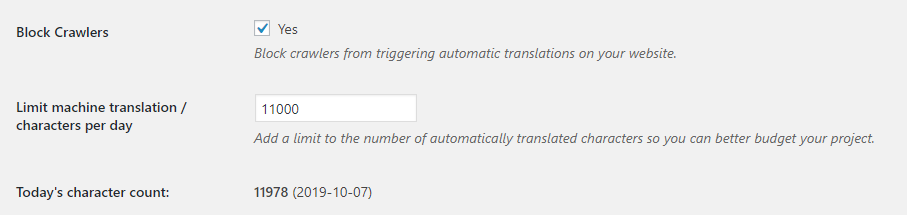 DeepL Automatic Translation - limit translated characters per day