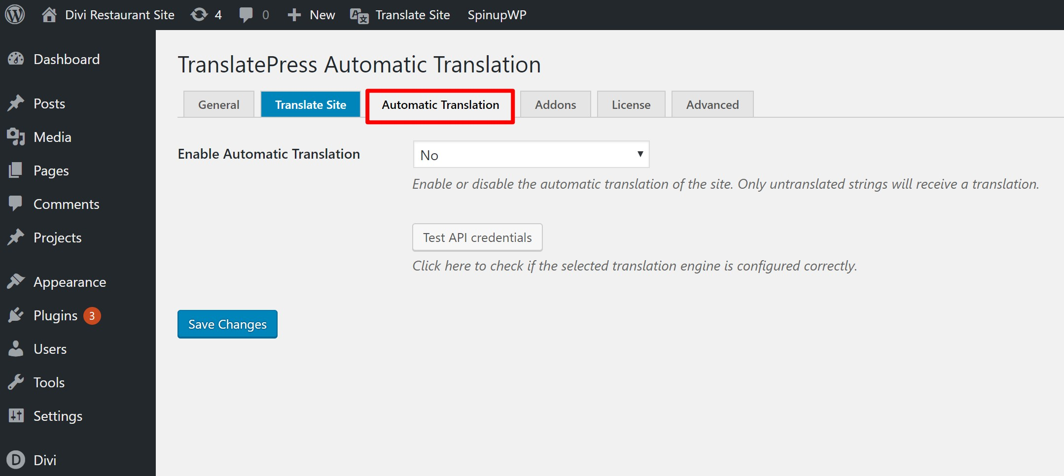 Automatic translation feature in TranslatePress