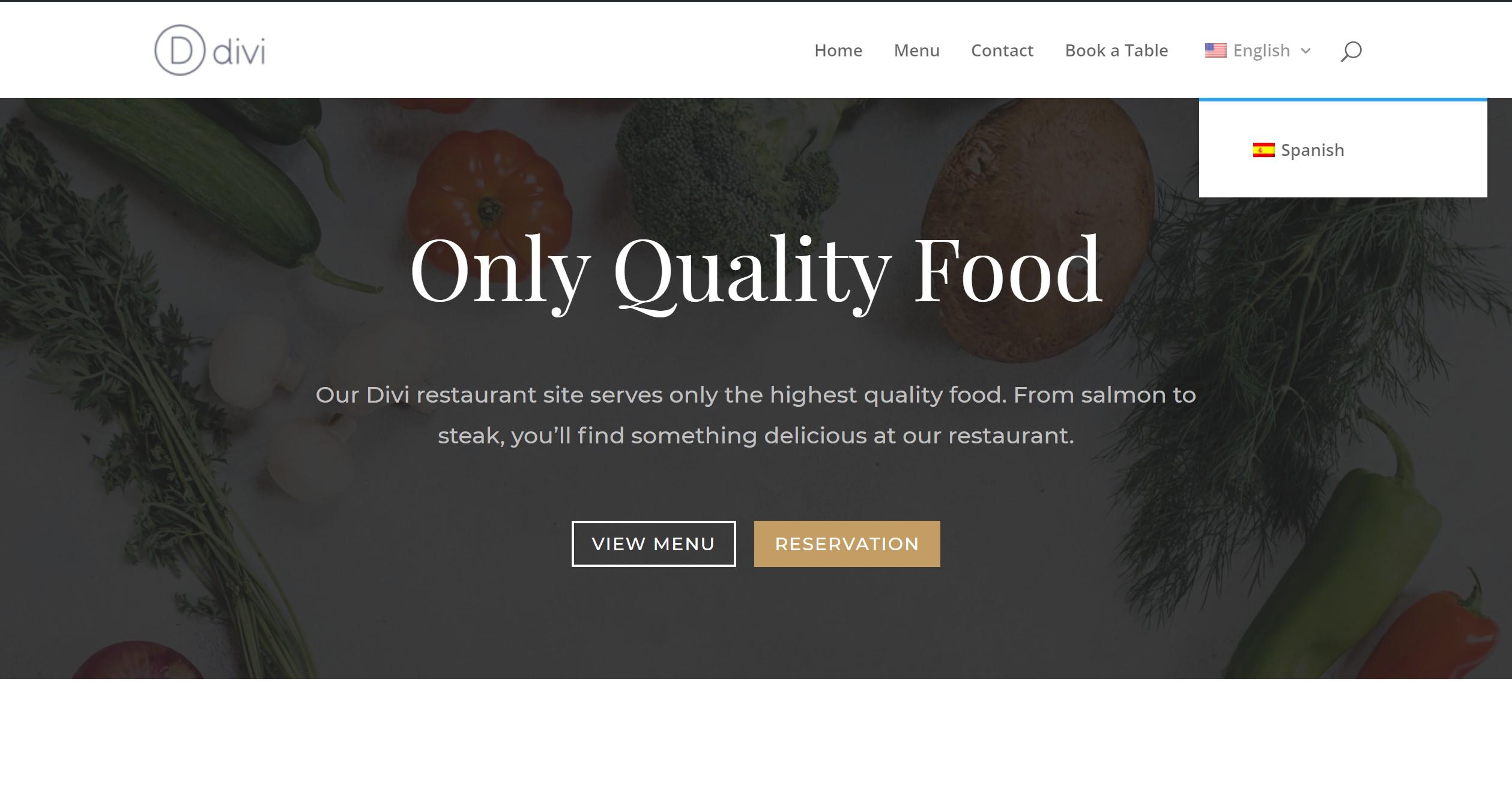 Front-end menu language switcher for Divi site