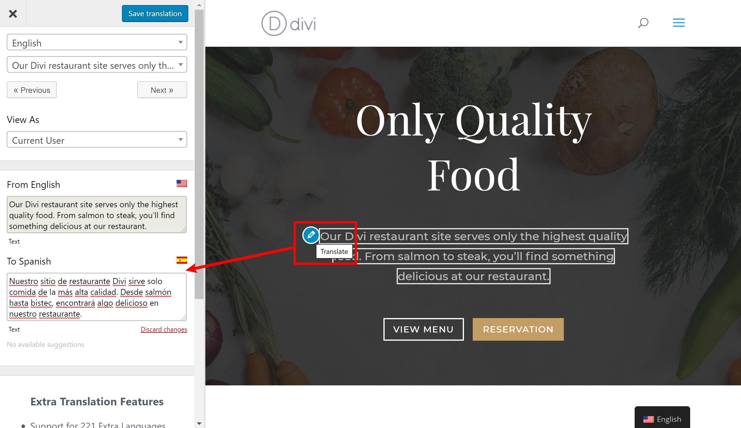 Comment sélectionner une chaîne de texte pour traduire le site Divi