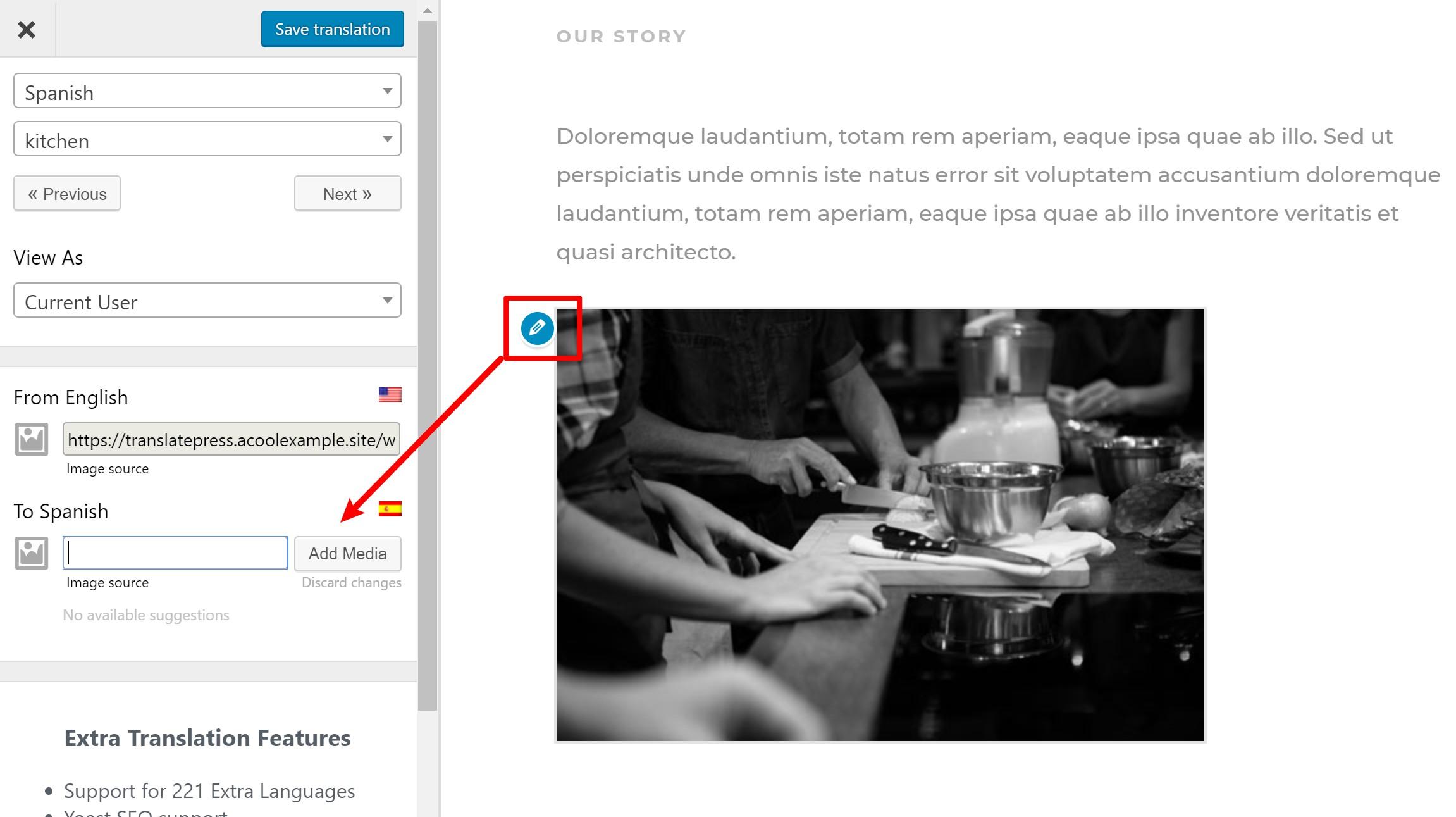 Comment traduire des images sur le site Divi