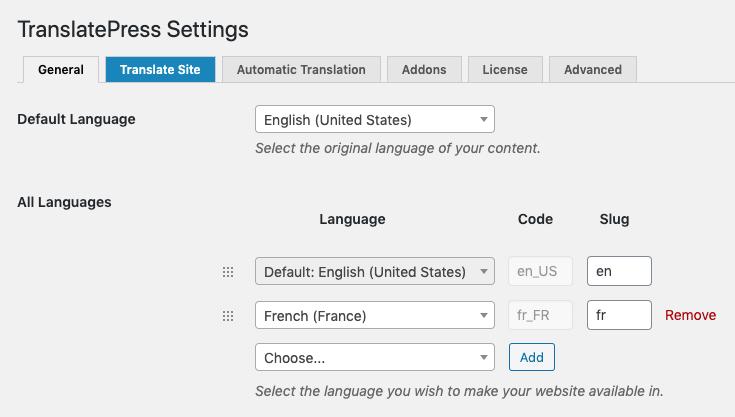 Adding languages to TranslatePress