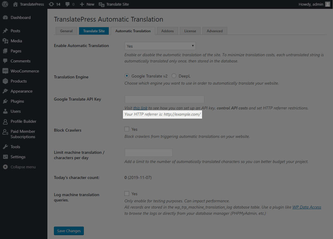 TranslatePress HTTP Referrer for Google Translate API