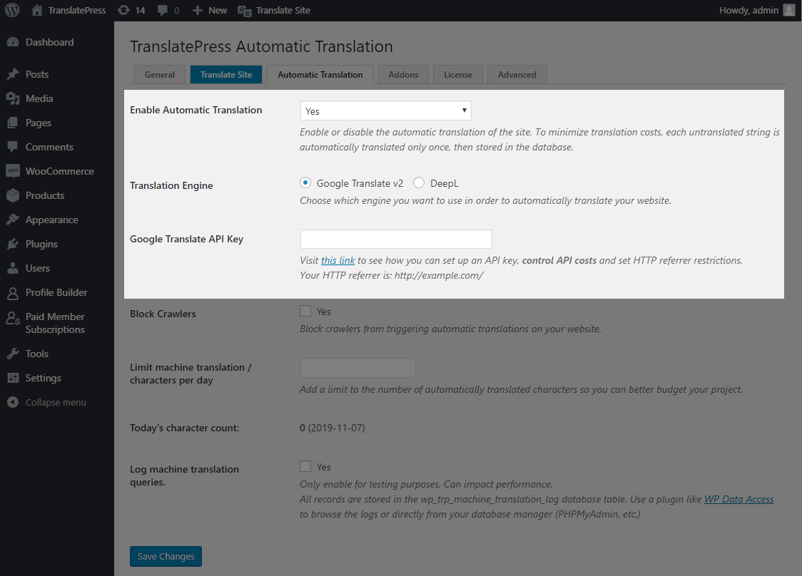 Add Google API Key in TranslatePress Automatic Translation settings