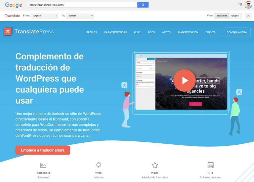Translated website with Google Translate toolbar