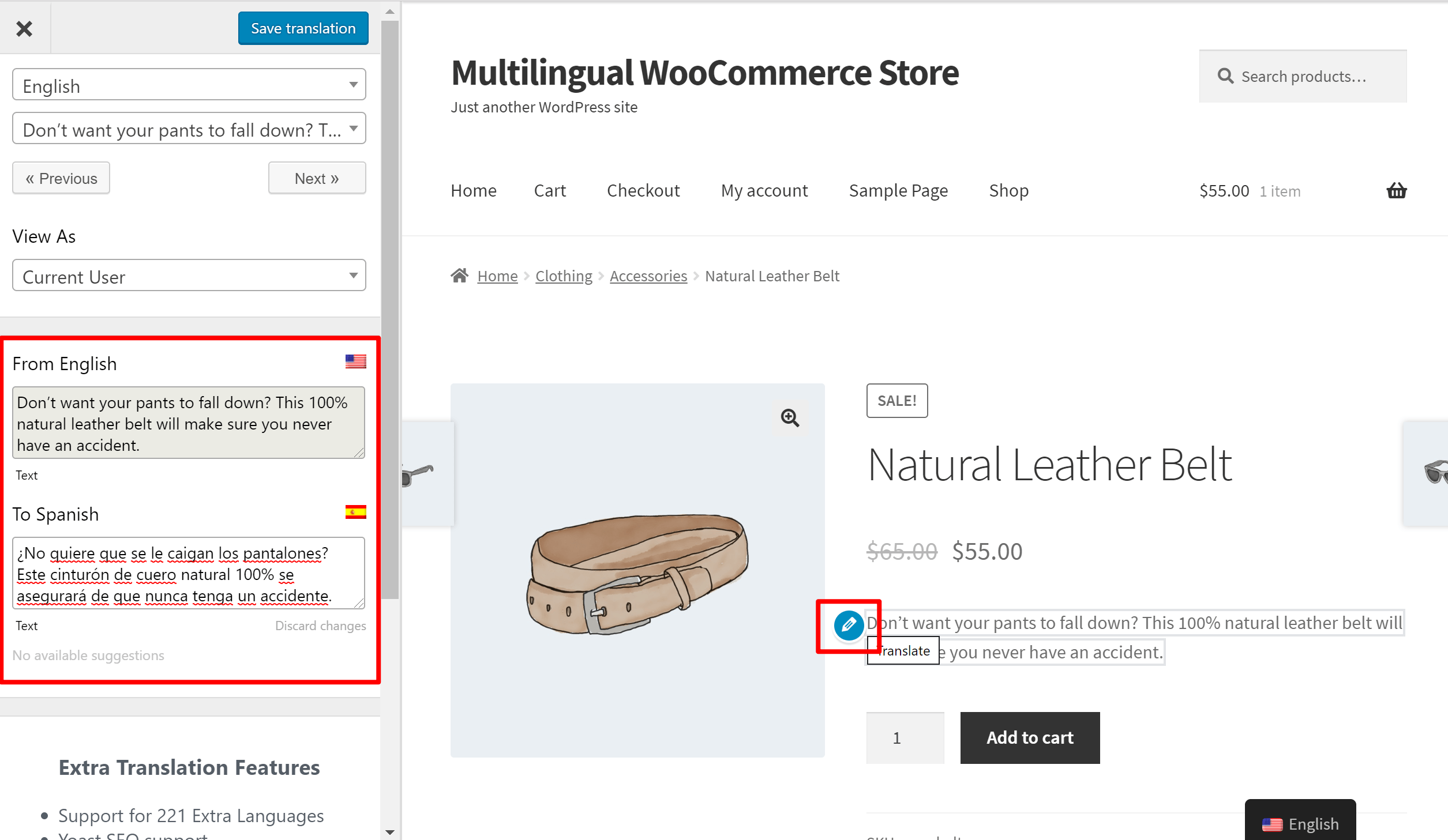 Editing a WooCommerce translation