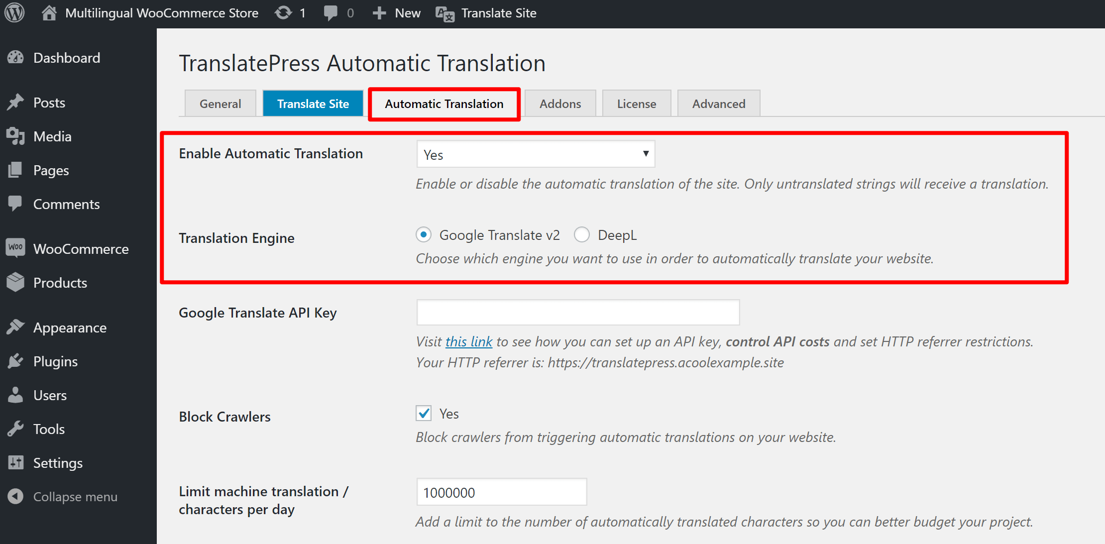 Choose service to automatically translate WooCommerce