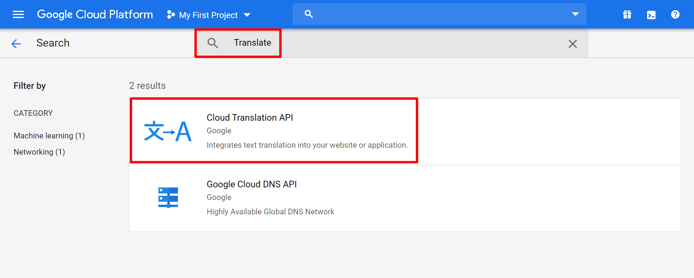 Google Translate API