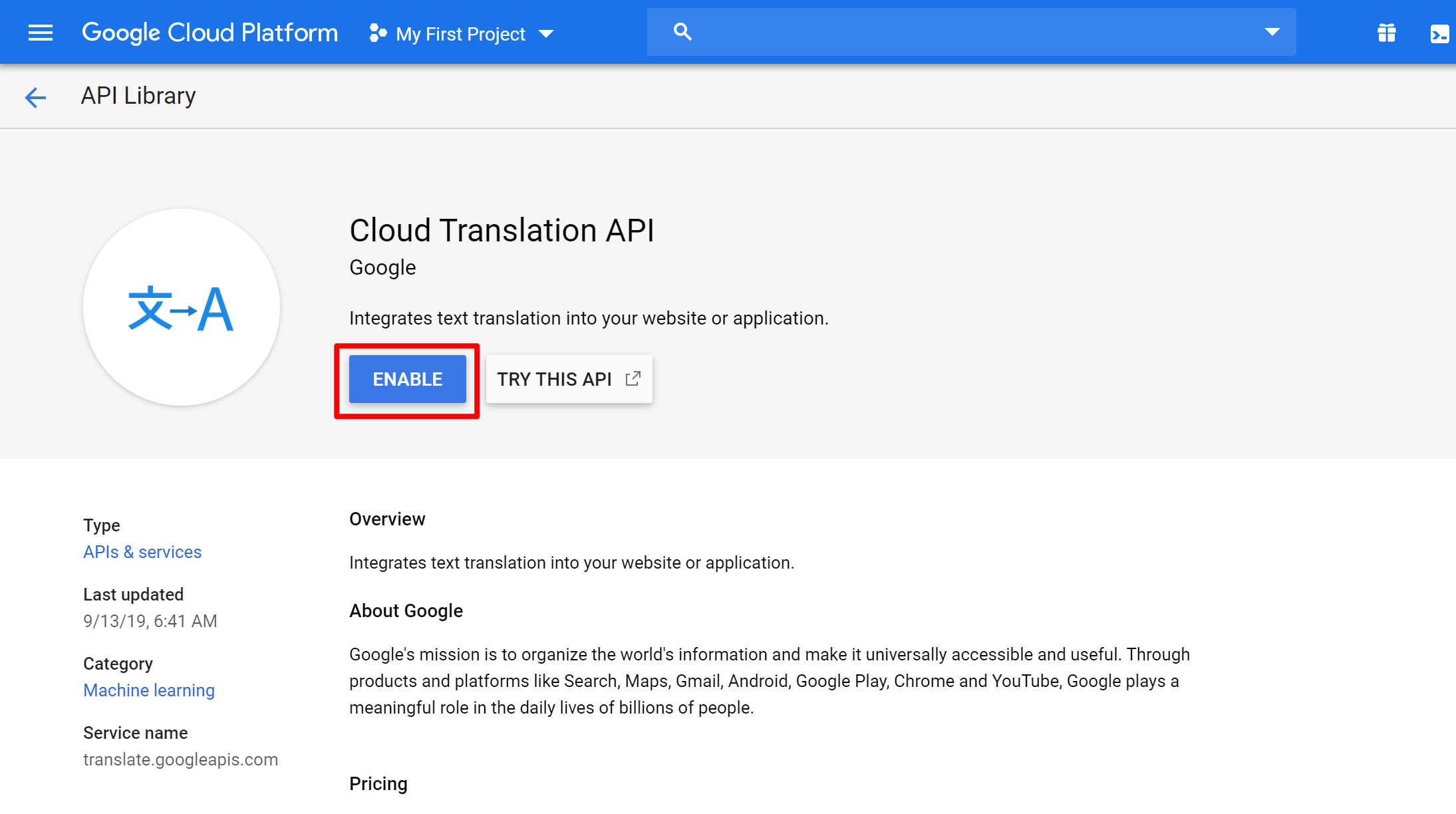 Enable Google Translate service to automatically translate WooCommerce