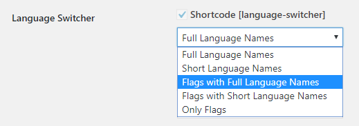 WordPress Language Switcher Shortcode options