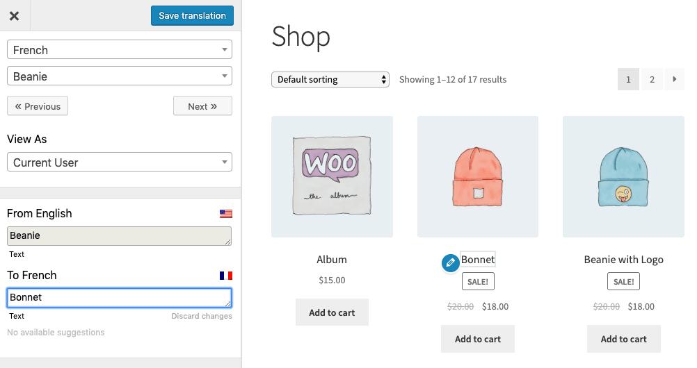 Translate WooCommerce Shop page