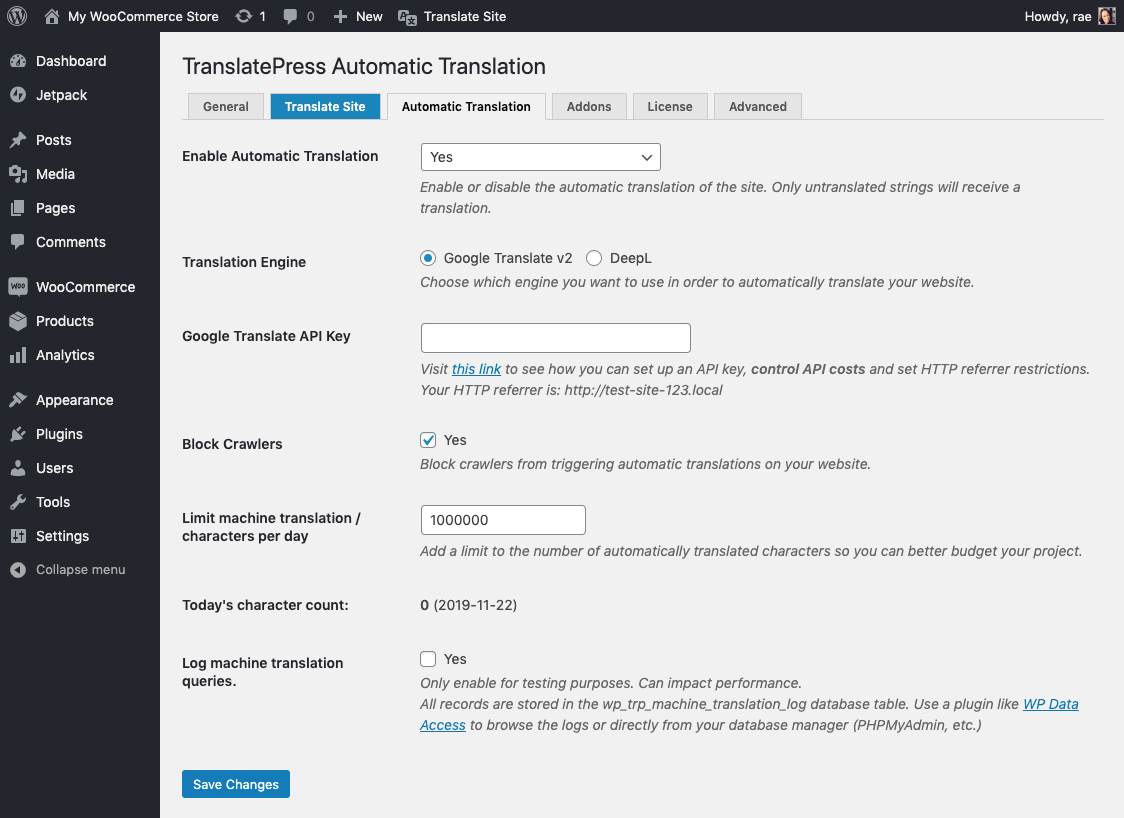 Automatic translations with TranslatePress