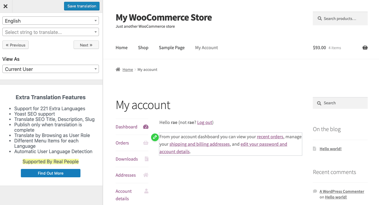 WooCommerce Multilingual My Account page