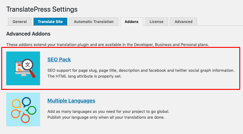 Installing the TranslatePress SEO Pack