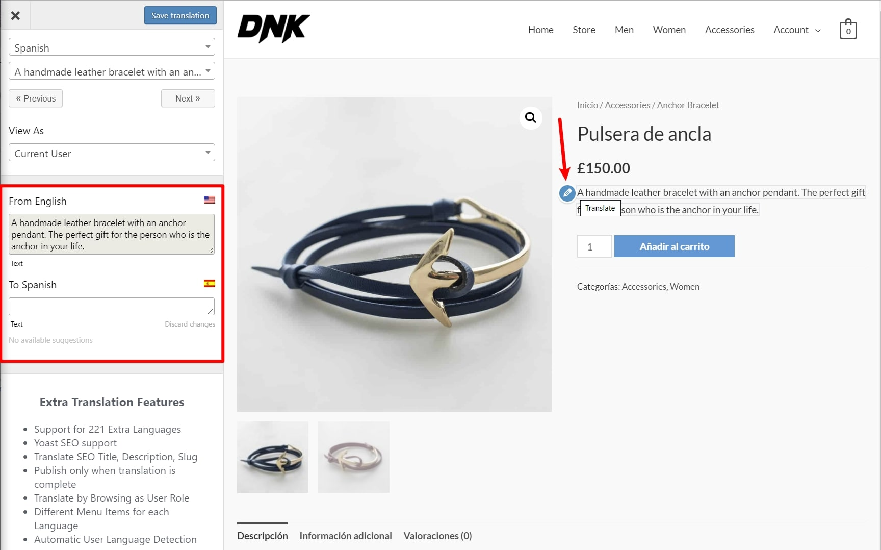 How to translate a WooCommerce product