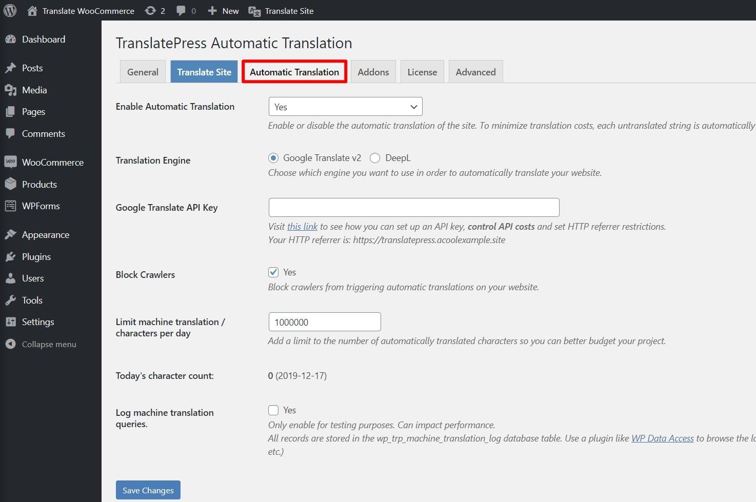 Automatic translation settings