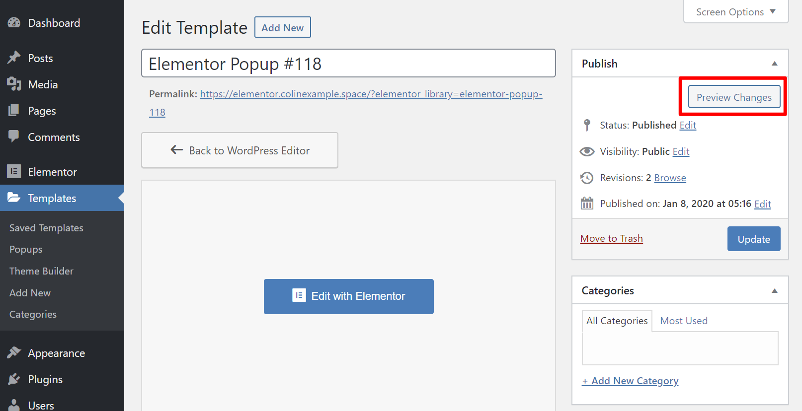 Popup template editor